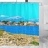 Spain Alcudia Beach Mallorca cortina de ducha viaje baño decoración conjunto con ganchos poliéster 72x72 pulgadas (YL-05220)