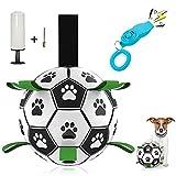 WeChip Jouet pour Chien,Dog Toys Balle de Football pour Chien avec languettes,Jouet interactif / Jouet Aquatique pour Chien avec Pompe à Balle et Aiguille et sifflet d'entraînement avec clicker.