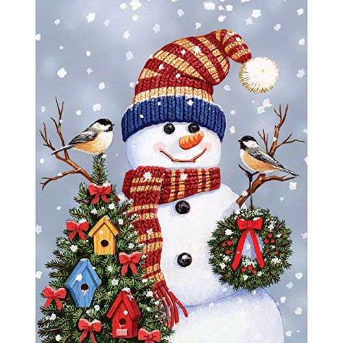 DIY 5D Diamond Painting Kit, Full Diamond Embroidery Rhinestone Arts Craft Supply for Home Wall Decor Snowman Wearing Christmas Hat 11.8x15.7 in by Lazodaer