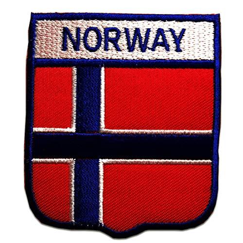 Noruega bandera - Parches termoadhesivos bordados aplique para ropa, tamaño: 6,4 x 7,4 cm