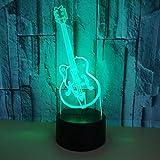 Mode Creative Musique En Forme de Guitare Amis 3D LED Veilleuse USB Lampe de Table Enfants cadeau D'anniversaire Chevet décoration de la maison