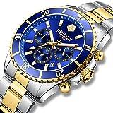 MEGALITH Orologio Uomo Acciaio Solido Impermeabile 10 ATM Quadrante Grande Cronografo Orologi da Polso Analogico Orologi Luminoso Calendario Regalo Elegante - Oro Blu