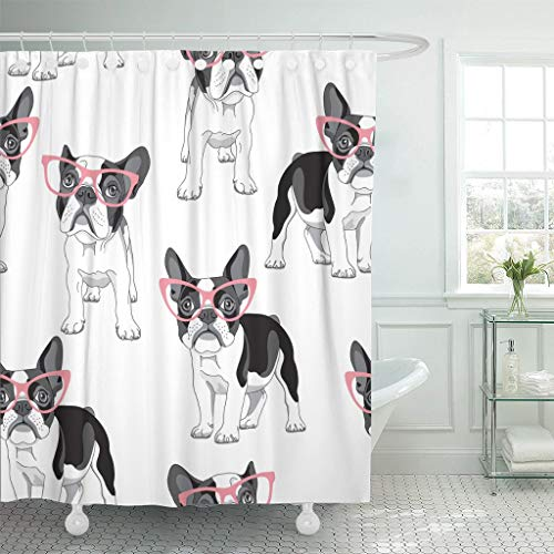 Rdsfhsp Shower Curtain Pattern Cartoon French Bulldog in Pink Glasses on Frenchie Waterproof Polyester Fabric Set with Hooks