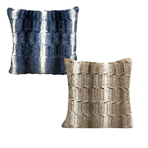 QXbecky Fundas de Cojines Funda de Almohada Cuadrada de patrón de Piedra con patrón de Felpa sin núcleo 1, 2 Piezas Funda de Almohada de Microfibra para decoración de sofá 50 cm