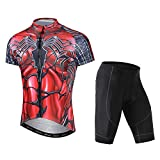 LSERVER Cycling Jersey Men,Cyling Set Breathable Shirt and 3D Padded Cushion Shorts Quick Dry Sports Jersey for Men, Spiderman, X