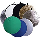 CowboyStudio 8-In-1 43-Inch Round Collapsible Disc Reflector, with Translucent, White, Black, Blue, Green, Gold, and Silver