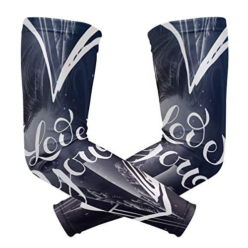 DXG1 Love You Galaxy Herz-Ärmel für Arme Shooter Männer Frauen UV-Schutz Sonnenschutz Schutz Laufen Golf Radfahren Fahren Lange Kühlung Kompression 1 Paar