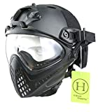 H World UE - Casco integral táctico para airsoft o painball, con gafas de visión completa y frontal extraíble, color negro, tamaño M-L