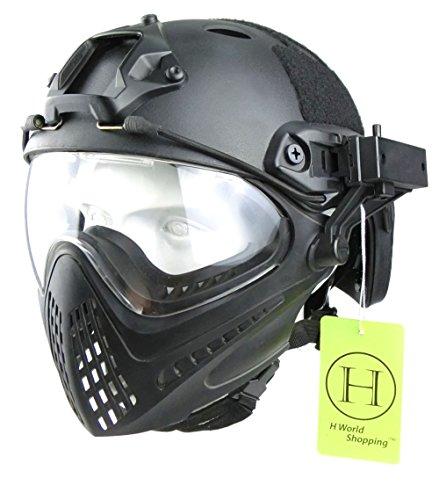 H World EU Integrierte Taktische Airsoft Painball Vollgesichtsbrille Piloteer Schutzhelm mit abnehmbarem Gesichtsschutz BK (L)