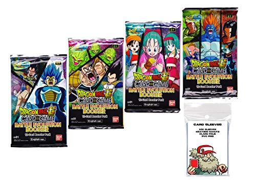 Original Dragon Ball Evolution EB01 Booster - Juego de 4 fundas para tarjetas de Dragon Ball