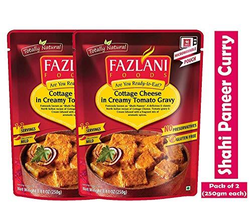Fazlani ALIMENTS Prêt à manger Shahi paneer -Cottage Fromage au Curry Sauce tomate acidulée, -Pack de 2, 250g Chaque
