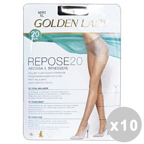 Golden Lady Repose Lot 10 Repose Collants 20 Den Noir Taille III 36 F