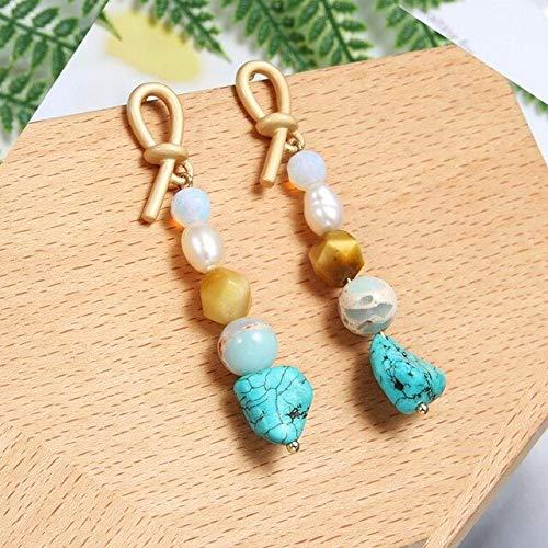 DJMJHG Pendientes Largos de Moda Pendientes de Perlas de Agua Dulce para Mujer Pendientes de Perlas joyería Hecha a ManoES0606