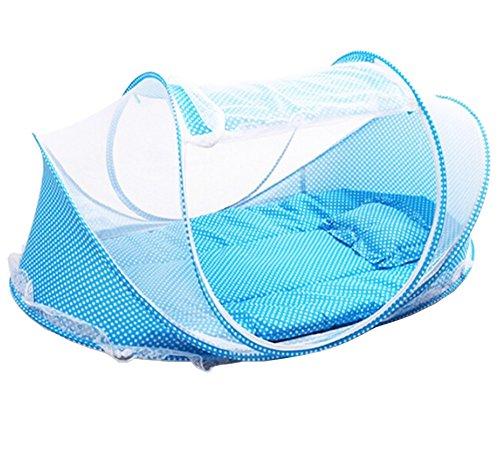 Tienda mosquitera plegable para bebés, con colchón y almohada, color azul, marca Laat