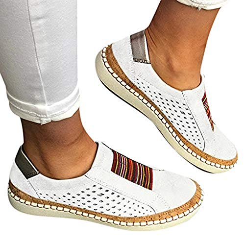 TnaIolral Women Casual Hollow-Out Shoes Round Toe Slip On Flat with Sneakers White