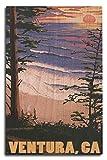 Ced454sy Ventura, California, Surfing Sunset, impresiones artísticas para colgar en la pared, placa decorativa de madera, placa de madera para casa de campo, regalos de cumpleaños familiares o decoración de pared del hogar
