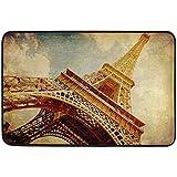 LINFENG Alfombrilla de Bienvenida Antideslizante Alfombrilla de Entrada de la Torre Eiffel de París Vintage Interior al Aire Libre para decoración del hogar, 23.6 x 15.7 Pulgadas