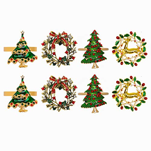 peony man 8 Pieces Christmas Napkin Rings Wreath Christmas Tree Napkin Holders Table Decor Set for Christmas Holiday Dinner Wedding Party Banquet Dinning Table Decoration