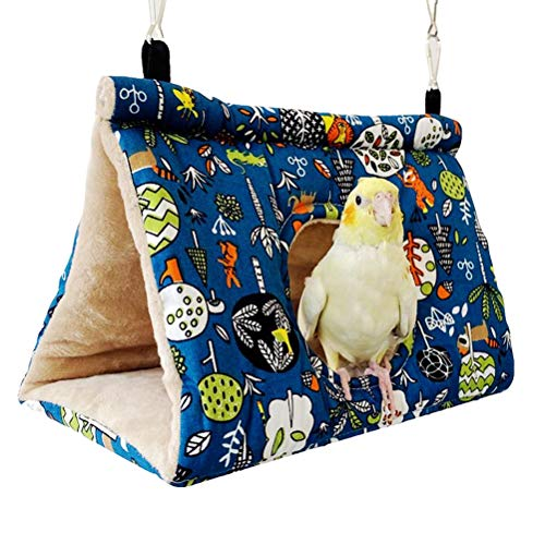 LINONI Autumn Winter Parrot Bird Warm Nest Velvet Shed Hut Finch Cage Fluffy Hideaway Snuggle Sleeping Bed for Macaw Hamster