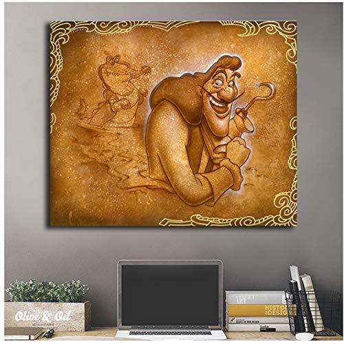 Kapitein Haak Peter Pan Lachen Nooit bij Een Krokodil Art Canvas Poster Schilderen Muur Foto Print Thuis Slaapkamer Decoratie Artwork -60x80cm Geen Frame