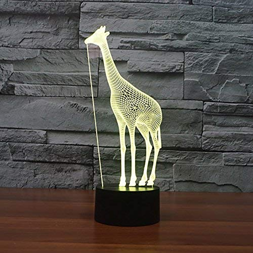 Nfudishpu 3D Night Light, LED Animal Novelty Giraffe Shape Lamp Beside Table Lamp 7 Colors Auto Changing Touch Switch Desk Decoration Lamps, New Year's Gifts