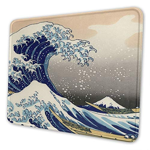 Japanese The Great Wave Off Kanagawa Pattern Mouse Pad with Stitched Edge Non-Slip Rubber Mouse Mat Waterproof Desk Mat for Office Home