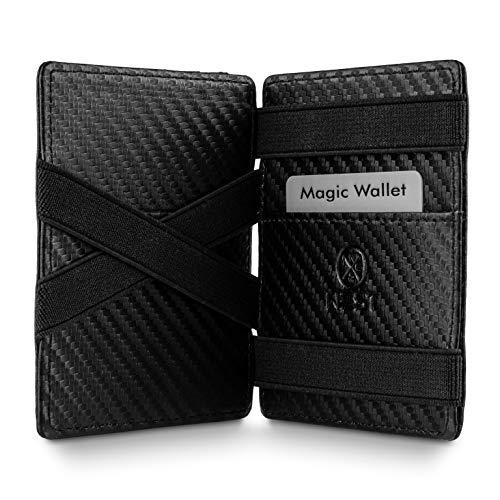 WEST - Magic Wallet (Carbon) - Das ORIGINAL (kleines Münzfach) - inklusive Edler Geschenkbox - Geldbeutel mit Münzfach - Der perfekte Begleiter für unterwegs - RFID Datenschutz