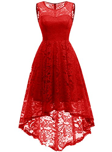 MUADRESS 6006 Women's Vintage Floral Lace Sleeveless Hi-Lo Cocktail Formal Swing Dress M Red