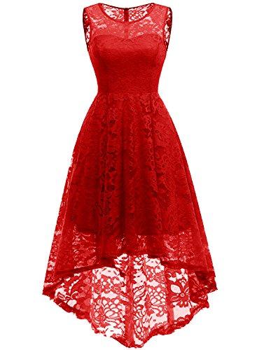 MuaDress 6006 Elegante Abendkleider Cocktailkleider Damenkleider Brautjungfernkleider aus Spitzen Knielange Rockabilly Ballkleid Rund Ausschnitt Rot XS