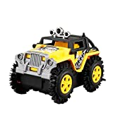 Fesjoy Auto elettrica per Bambini Flip Toy Car Cartoon Puzzle Autocarro con cassone Ribaltabile off-Road Rock Climber Climbing Vehicle Yellow