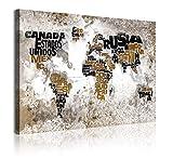 DekoArte 348 - Cuadros Modernos Impresión de Imagen Artística Digitalizada | Lienzo Decorativo para Tu Salón o Dormitorio | Estilo Mapamundi Mapa del Mundo con Nombres de Países | 1 Pieza 120 x 80 cm