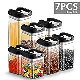 Chenci 7pcs Contenitori per Cereali Dimensione della Famiglia Ermetico Contenitori per Alimenti Senza BPA Riciclabile Perfetto per Cereali, Avena, Pasta, Cheerios ECC