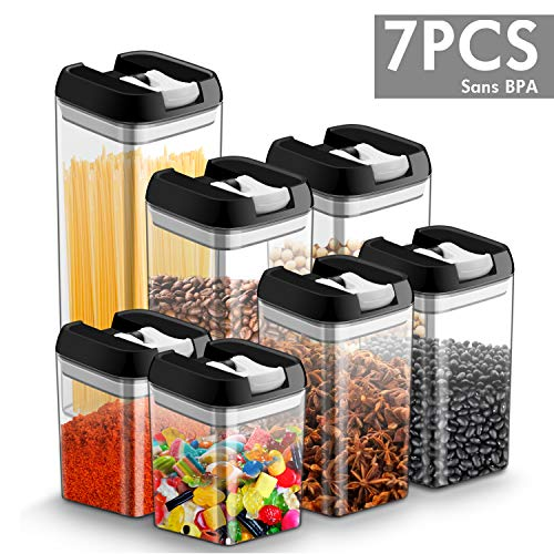 7Pcs Herméticas de almacenamiento de alimentos Caja de almacenamiento con tapa de tarro, libre de BPA, a prueba de fugas, evite las polillas de alimentos, juegos de tarros Tarro de cocina de alimentos