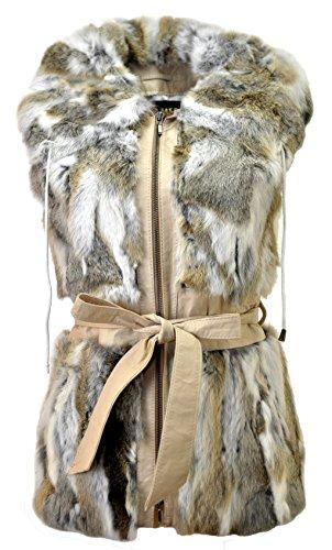 DX-Exclusive wear Damen Weste Fellweste Kaninchen, Lederweste, Gilet, beige/grau/Weiss Fell KK-0026 (40)