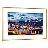 artboxONE Poster mit Rahmen Gold 45x30 cm Porto - Portugal