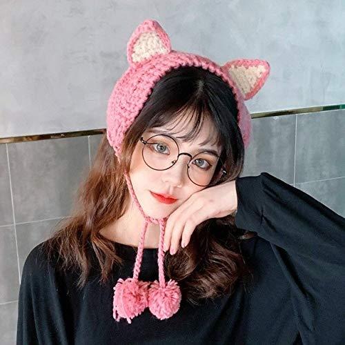 Invierno Skullies Mujer Rana Sombrero Crochet Sombrero de Punto Disfraz Beanie Sombreros Gorra Mujer Regalo Bebé Anime Sombrero Fotografía Prop Fiesta-Pink-OneSize(56-58cm)