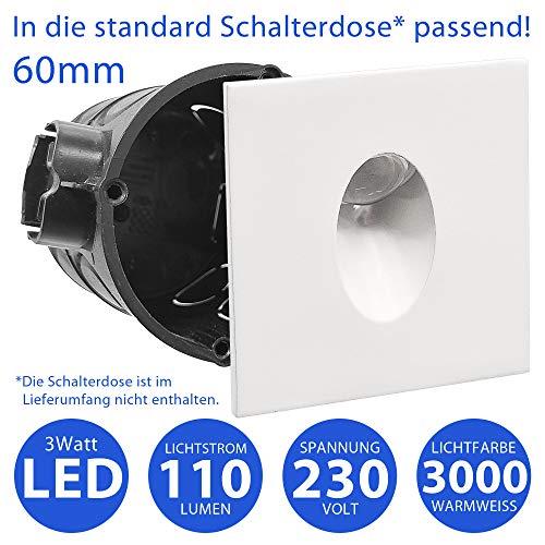 MAXKOMFORT® LED Treppenbeleuchtung 230V warmweiß treppenleuchte Wand Einbauleuchte Einbaustrahler Treppenlicht Flurleuchte Nachtlicht 2430 eckig