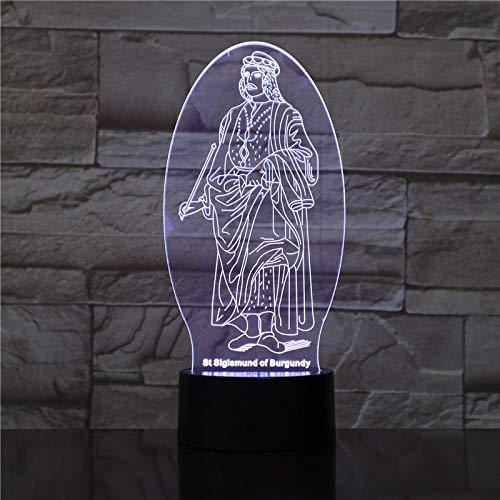 Ilusión De Luz Nocturna 3D,Jesús Religioso Lámpara De Escritorio Le