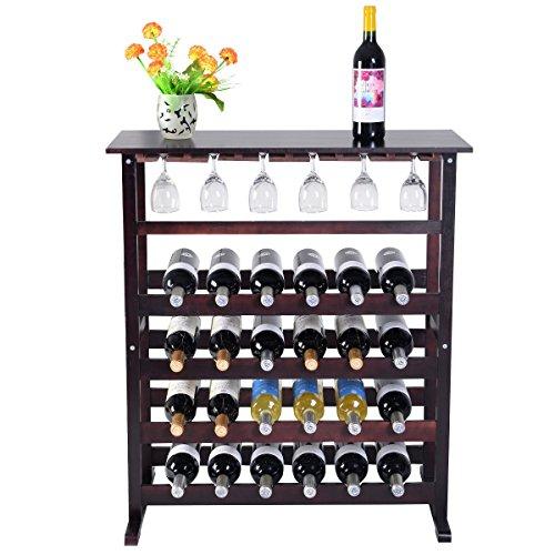 Wood Wine Rack Holder Storage Shelf Display w/ Glass Hanger New 24 Bottle