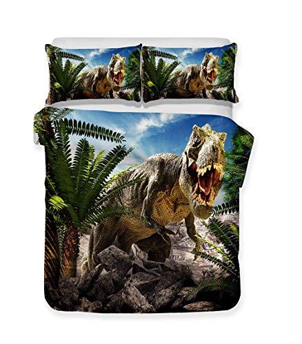 332 Children's Duvet Cover Pillowcase 3D Jurassic Era Dinosaur Cartoon Bedding Set Teen Boy Girl Single Double Bed Comfortable Microfiber Bedroom Decor for Any Season