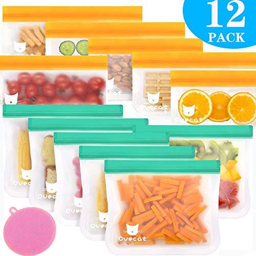 Wiederverwendbare Aufbewahrungs Beutel - 12er-Pack Extra Dicker Sandwich Snack Taschen Kühlschrank Beutel für Obst Gemüse Fleisch und Brot