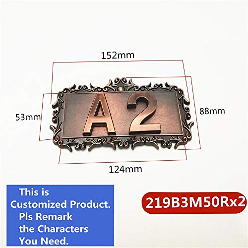 GHC Número de casa Zeichen Bedruckte Tür-Zahl Aufkleber ABS Plastik Imitation Metall Bronze House for Hotel Apartment Türschild (Farbe : 2 Digits)