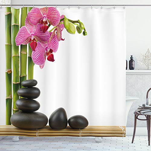 ABAKUHAUS Spa Duschvorhang, Rosa Orchidee & Bambusse, Moderner Digitaldruck mit 12 Haken auf Stoff Wasser & Bakterie Resistent, 175 x 200 cm, Rosa grün & schwarz