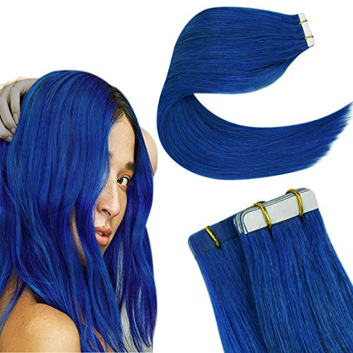 Easyouth Ruban Adhesif Cheveux Humain Remy Extensions Cheveux Naturel Couleur Blue Hair Extensions Perruque Cheveux Humain Rajout Invisible Tape in Ha