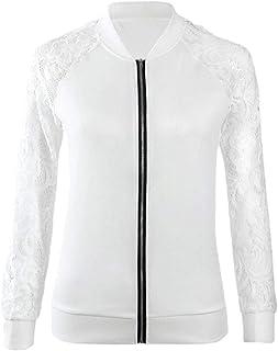 Women Long Sleeve Lace Baseball Coat Zip Blouse Top Cardigan Transitional Jacket