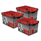 Curver Dekorative Stockholm Box Aufbewahrungsboxen mit Deckel, 22 l, 22 l, 39 x 29 x 24 cm, 3 Stück