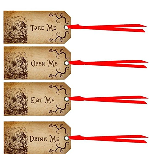 20 Alice in Wonderland eat me, drink me, take me, open me party tags laminated party decoration