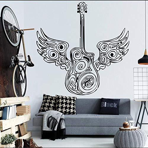 Geiqianjiumai Spezielle Gitarre mit Engelsflügeln Art Design Wandaufkleber Schlafzimmer Wohnkultur Kunstwand Elektrische Jazz Musikinstrument Aufkleber Schwarz 43x43 cm