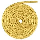Lacenio Cordones redondos encerados para zapatos de traje, cordones de cuero, muy resistentes, 3 mm de ancho, color amarillo mostaza, longitud 120 cm