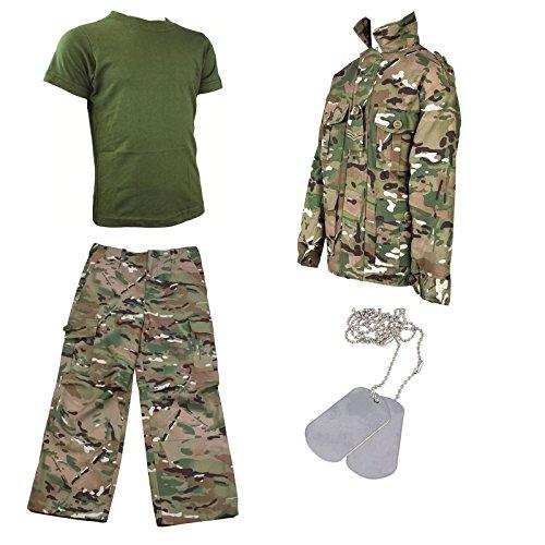 Ensemble 5 pièces avec pantalon et veste camouflage, t-shirt et plaques - Multicolore -